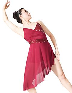 Ballet Jurken Dames Kinderen Prestatie elastan Polyester Lovertjes Lycra Gedrapeerd Geplooide Met Glitter 2-delig Mouwloos Natuurlijk