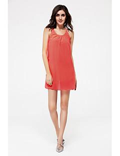Damer Simpel Plusstørrelser Løstsiddende Kjole Ensfarvet,Med stropper Over knæet Uden ærmer Bomuld Sommer Alm. taljede Uelastisk Medium