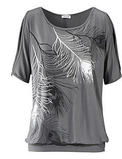 Naiset Lyhythihainen Ohut Pyöreä kaula-aukko Puuvilla Kesä Yksinkertainen Rento/arki T-paita,Painettu