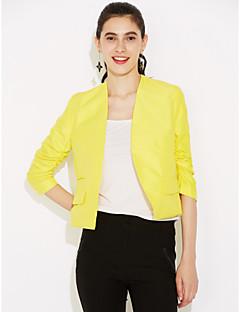 Damen Solide Einfach Lässig/Alltäglich Arbeit Blazer,V-Ausschnitt Frühling Herbst ¾-Arm Kurz Baumwolle