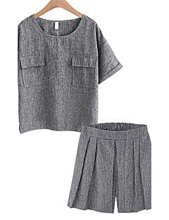 Kortærmet Rund hals Uelastisk Damer Ensfarvet Sommer Simple Afslappet/Hverdag Plusstørrelser T-shirt Bukse Jakkesæt