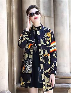 Feminino Casaco Longo Casual Moda de Rua Outono,Estampado camuflagem Padrão Poliéster Decote Redondo Manga Longa