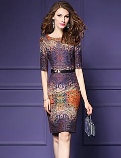 여성 바디콘 드레스 데이트 플러스 사이즈 스트리트 쉬크 프린트,라운드 넥 무릎길이 반 소매 면 폴리에스테르 가을 중간 밑위 신축성 없음 중간