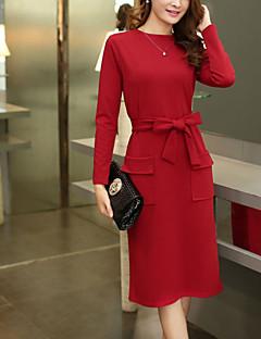 Damen Hülle Kleid-Ausgehen Lässig/Alltäglich Übergröße Einfach Street Schick Solide Rundhalsausschnitt Midi Langarm Polyester Frühling