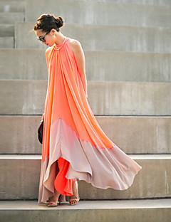 Damen Tunika Kleid-Party Festtage Ausgehen Patchwork Rundhalsausschnitt Maxi Ärmellos Polyester Frühling Mittlere Hüfthöhe Mikro-elastisch