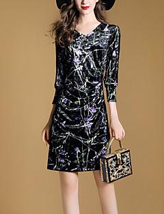 סתיו כותנה פוליאסטר שרוול 4\3 מיני צווארון V דפוס טלאים סגנון רחוב ליציאה שמלה צינור נשים,גיזרה בינונית (אמצע) מיקרו-אלסטי בינוני (מדיום)