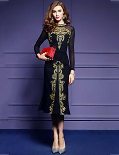 Damen Bodycon Kleid-Übergröße Ausgehen Retro Patchwork Stickerei Ständer Midi Langarm Baumwolle Polyester Herbst Mittlere Hüfthöhe