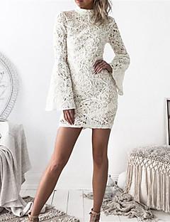 סתיו חורף פוליאסטר שרוול ארוך מיני צווארון עגול אחיד סקסי מועדונים שמלה צינור נשים,גיזרה גבוהה מיקרו-אלסטי בינוני (מדיום)