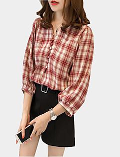 Damen Verziert Sexy Lässig/Alltäglich Hemd,V-Ausschnitt Herbst 3/4 Ärmel Polyester