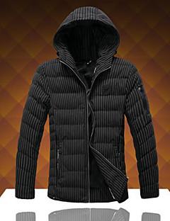 コート ショート パッド入り メンズ,お出かけ ワーク ストライプ コットン コットン-シンプル 長袖