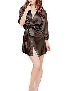 Black White Satin Robe Women's Night Sleepwear