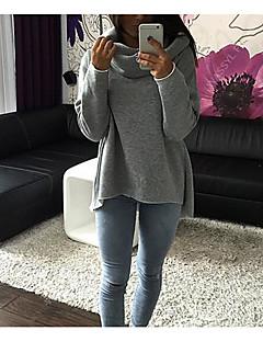 Damen Kapuzenshirt Sport Ausgehen Lässig/Alltäglich Einfach Aktiv Boho Solide Jacquard Bestickt Fleece-Futter Mikro-elastischBaumwolle