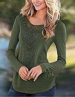 Tee-shirt Femme,Couleur Pleine Sortie simple Automne Hiver Manches Longues Col Arrondi Polyester Moyen