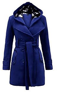 Langærmet Firkantet hals Damer Lang Ensfarvet Vinter Simple I-byen-tøj Frakke,Polyester