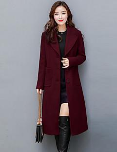 Langærmet Krave Damer Lang Ensfarvet Efterår Vinter Gade Sofistikerede I-byen-tøj Plusstørrelser Frakke,Kashmir Polyester