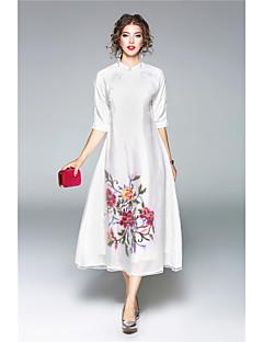 Damen Hülle Kleid-Lässig/Alltäglich Solide Stickerei Ständer Midi 3/4 Ärmel Seide Herbst Mittlere Hüfthöhe Mikro-elastisch Mittel