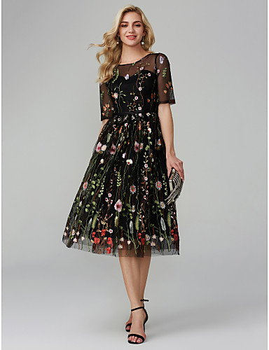 0ee549be3638 Γραμμή Α Illusion Seckline Κάτω από το γόνατο Οργάντζα   Σατέν σιφόν Μικρό  Μαύρο Φόρεμα Κοκτέιλ Πάρτι Φόρεμα με Κέντημα με TS Couture®