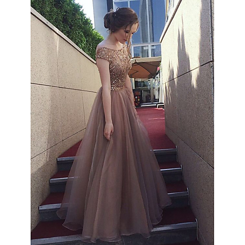 67c274018a69 A-Line Bateau Neck Floor Length Tulle / Sequined Bridesmaid Dress with  Sequin by LAN TING Express