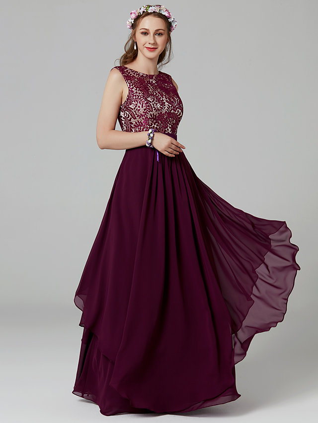 3e21b3958d A-Line Jewel Neck Floor Length Chiffon / Lace Bridesmaid Dress with Sash /  Ribbon / Pleats by LAN TING BRIDE®