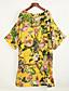 Mulheres Solto Vestido,Casual Moda de Rua Floral Decote V Médio Manga Curta Amarelo Poliéster Todas as Estações