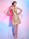 Linia -A Prințesă Halter Gât V Lungime Genunchi Tafta Petrecere Cocktail Concediu Rochie cu Volane Ruching Drapat Părți de TS Couture®