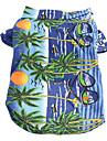 Chat Chien Tee-shirt Multicouleur Vetements pour Chien Ete Floral / Botanique Vacances Mode