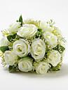"Flori de Nuntă Rotund Trandafiri Buchete Nuntă Satin Bumbac Ivoriu 9.84""(Approx.25cm)"