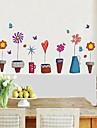 autocolante de perete de perete decalcomanii de flori stil ghiveci decorativ autocolant