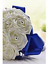 """Flori de Nuntă Rotund Trandafiri Buchete Nuntă Petrecere / Seară Satin Spumă Ștras Cristal 7.09""""(Approx.18cm)"""