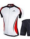 Nuckily Maillot et Cuissard de Cyclisme Homme Manches Courtes Velo Ensemble de Vetements Pare-vent Design Anatomique Permeabilite a