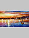 Peint a la main Abstrait Paysage Paysages Abstraits Horizontale,Moderne Un Panneau Toile Peinture a l\'huile Hang-peint For Decoration