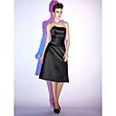 billige Trykk-A-linje Stroppeløs Knelang Sateng Liten svart kjole Cocktailfest Kjole med Bølgemønster av TS Couture®
