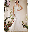 cheap RC Cars-Mermaid / Trumpet Halter Neck Court Train Satin / Tulle Made-To-Measure Wedding Dresses with Bowknot / Beading / Appliques by LAN TING BRIDE® / Sparkle & Shine