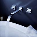 cheap Sheet Sets & Pillowcases-Contemporary Wall Mounted Waterfall Ceramic Valve Three Holes Two Handles Three Holes Chrome, Bathroom Sink Faucet