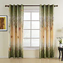 cheap Curtains Drapes-Curtains Drapes Bedroom Leaf Polyester Print