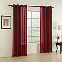 cheap Sheer Curtains-Rod Pocket Grommet Top Tab Top Double Pleat Two Panels Curtain Modern Solid Dining Room 100%Polyester Faux Linen Material Sheer Curtains