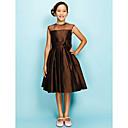 Χαμηλού Κόστους Φορέματα δεξίωσης γάμου-Γραμμή Α / Πριγκίπισσα Με Κόσμημα Μέχρι το γόνατο Οργάντζα / Ταφτάς Φόρεμα Νεαρών Παρανύμφων με Που καλύπτει / Πιασίματα / Λουλούδι με LAN TING BRIDE® / Άνοιξη / Καλοκαίρι / Φθινόπωρο / Μήλο