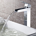 Χαμηλού Κόστους Sprinkle® Βρύσες Νιπτήρα-πασπαλίζουμε ® από lightinthebox - στερεός ορείχαλκος καταρράκτη μπάνιο νεροχύτη βρύση φινίρισμα χρωμίου (μακρύς)