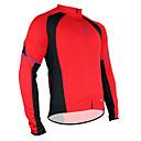 זול סטים של חולצות ומכנסיים\שורטים לרכיבת אופניים-SANTIC בגדי ריקוד גברים שרוול ארוך חולצת ג'רסי לרכיבה - אודם אופניים ג'רזי, שמור על חום הגוף, ייבוש מהיר, נושם פוליאסטר