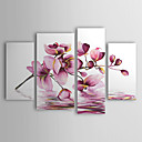 cheap Prints-Hand-Painted Floral/Botanical Any Shape Canvas Oil Painting Home Decoration Four Panels