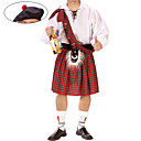 cheap Totes-Scottish Cosplay Costume / Party Costume Men's Halloween / Carnival / New Year Festival / Holiday Halloween Costumes Red / White Plaid