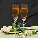 cheap Jewelry Sets-Personalized Double Heart Design Toasting Flutes Wedding Reception