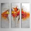 povoljno Apstraktno slikarstvo-Ručno oslikana Sažetak Vertikalno Platno Hang oslikana uljanim bojama Početna Dekoracija Tri plohe