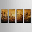 זול ציורי שמן-מצויר ביד מופשט / נוף אבסטרקט ארבעה פנלים בד ציור שמן צבוע-Hang For קישוט הבית