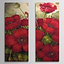 hesapli Duvar Aplikleri-Hang-Boyalı Yağlıboya Resim El-Boyalı - Çiçek / Botanik Çağdaş Iç çerçeve dahil / Gerilmiş kanvas