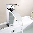 hesapli Banyo Lavabosu Muslukları-Çağdaş Tek Gövdeli Şelale Seramik Vana Tek Delik Tek Kolu Bir Delik Krom, Banyo Lavabo Bataryası