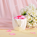 "cheap Wall Stickers-Flower Basket Wood Satin 3 1/2"" (9 cm) Acrylic Rhinestone Bows Sash"