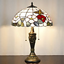 billige Bordlamper-Floral Pattern bordlampe, 2 Light, Tiffany Resin Glass Painting