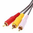 preiswerte Audio & Video-jsj® 1,8 5.904ft 3 Cinch-Composite-Stecker auf Stecker-Videokabel - Grau