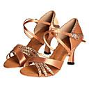 رخيصةأون أحذية لاتيني-للمرأة أحذية رقص / صالة الرقص / أحذية سالسا ستان كعب كعب مخصص مخصص أحذية الرقص برونز